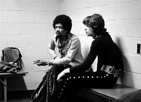Jimi Hendrix e Mick Jagger, New York 1969.